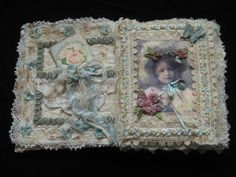Shabby Chic Fabric Journal / Book Altered Art by KISoriginals