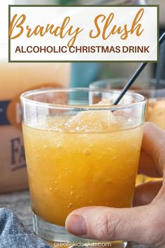 Brandy Slush is an alcoholic drink recipe made at Thanksgiving and Christmas in the midwest. It's a delicious slush recipe made in an ice cream pail - perfect for transporting! #brandyslush #brandyslushrecipe #thanksgivingdrinkrecipes #alcoholicdrinkrecipes #alcoholicchristmasdrinkrecipes #createkidsclub