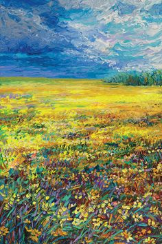 'Wyoming Triptych Panel 1' by artist Iris Scott. A beautiful impressionist landscape of a golden meadow of wildflowers under a heavily textured sky.