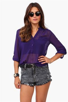 Mira Blouse in Eggplant