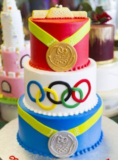 Olympics- Cake # 037. Sports Themed Cakes, Olympics, Birthday Cake, Children, Desserts, Food, Tailgate Desserts, Birthday Cakes, Boys