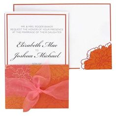 Hobby Lobby $24.99 for 25 Get the custom look of professional printing for a fraction of the cost with these Coral & Orange Flowers Wedding Invitations.    The invitations are compatible with most home and office printers. There are 25 blank invitations, pockets, sheer coral ribbon and coordinating envelopes. 25 RSVP note cards and envelopes are also included.