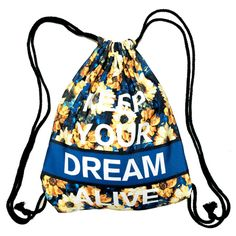 Keep Your Dream Alive Quote Sunflower Print Drawstring Cinch Backpack Bag for Women | DOTOLY