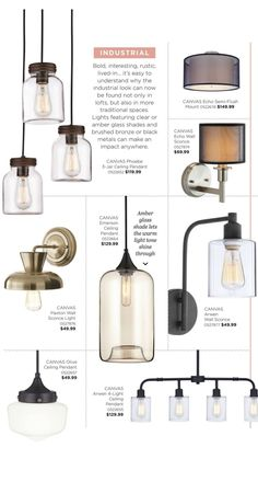 Industrial and rustic are found in many lofts and are also appearing in many traditional homes. The lights feature clear or amber glass shades and brushed bronze or black metals can make an impact anywhere. Check out Canadian Tire's WOWGuide for more light fixtures inspirations | Canadian Tire CANVAS Lighting Collection