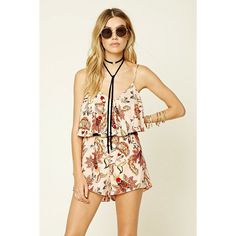Forever 21 Women's  Floral Print Flounce Romper ($23) ❤ liked on Polyvore featuring jumpsuits, rompers, floral romper, ruffle romper, flounce romper, playsuit romper and forever 21 rompers