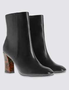 Tortoiseshell Heel Ankle Boots with Insolia®