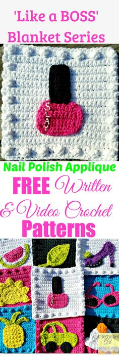 "Free written pattern and video tutorial for a Crochet Nail Polish Applique. ""Like a Boss"" Blanket Series Crochet Nail Polish Square Pattern. Intertwined Art"