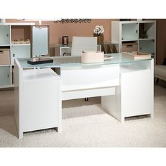 Ultra Modern White Lacquer Executive Desk with Three Drawers