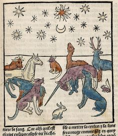 Unicorn and animals. Ars Moriendi. Paris France 1453 LOC