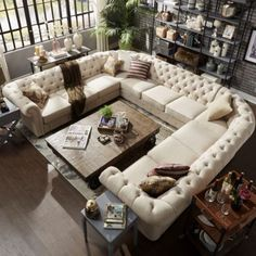Sectional-Sofa-Beige-Tufted-U-Shape-Seats-11-Scroll-Arm-Living-Room-Furniture