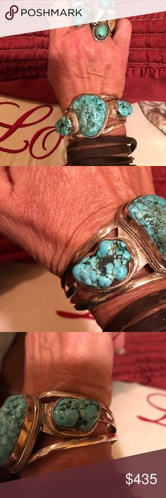 LARGE Sterling silver/turquoise Navajo cuff 3 LARGE turquoise stones that are amazing!! This is a Sterling silver and turquoise vintage piece that I just got from an estate sale. They said it was their grandmothers.  58 grams. 6 in circumference w/ 1 in gap Jewelry Bracelets