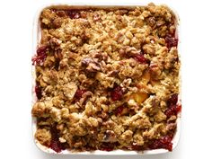 Apple-Raspberry Crumble with Oat-Walnut Topping from FoodNetwork.com Making peach/mixed berry today with GF flour of course!