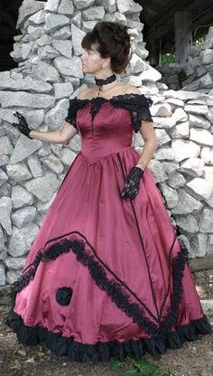 found tagged 1860's styling. Not by a long shot, missed on every technical aspect except that it is off the shoulder and the hemmed length. 1980 would be more like it.