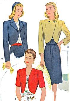 1940s Bolero Pattern McCall 5961 Womens Bolero Collared or Collarless Womens Vintage Sewing Pattern Bust 32