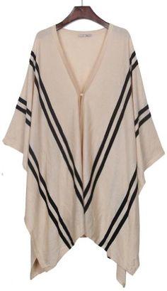 Apricot V-neck Striped Irregular Hem Knitted Cape