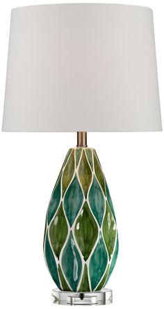 Two-Tone Green Ceramic Table Lamp -