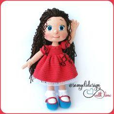 Free doll amigurumi crochet pattern Crochet Amigurumi Free Patterns, Crochet Doll Pattern, Free Crochet, Crochet Baby Toys, Crochet For Kids, Pretty Dolls, Amigurumi Doll, Doll Patterns, Double Crochet