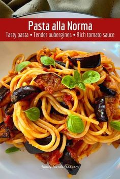 Pasta alla Norma is a delicious pasta dish with rich tomato sauce and crispy golden aubergine (eggplant). The whole family will enjoy this Italian classic. #pasta #vegan #dinner #recipe #italianfood #aubergine #eggplant #spaghetti Healthy Pasta Recipes, Noodle Recipes, Vegan Recipes, Leafy Salad, Pasta Shapes, Vegetarian Dinners, Tasty Dishes, Italian Recipes, Vegane Rezepte