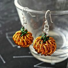 Chainmaille Pumpkin Earrings, Fall Earrings, Halloween Chainmail Jewelry, Thanksgiving Earrings, Orange Jack-o-Lantern Holiday Earrings by Seven Stars Chainmaille on Etsy