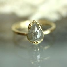 Teardrop White Gray Diamond Engagement Ring in 14K Yellow Gold - Ready to Ship