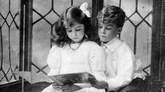 Lady Elizabeth Bowes-Lyon (the Queen Mother) and her brother, David.