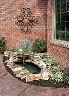 s 13 mini water features to add zen to your garden, outdoor living, ponds water features, Put a tiny waterfall pond beside your door