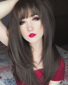 Wigs With Bangs, Hairstyles With Bangs, Straight Hairstyles, Lush Wigs, Full Fringe, Fringe Bangs, Natural Styles, Layered Cuts, Wig Cap