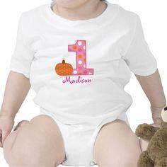 Pink Pumpkin Personalized Birthday Baby T-Shirt