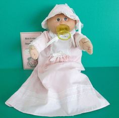 Cabbage Patch Preemie Doll 1984 Wheat Tuft Brown Eyes Pink Gown Bonnet Pacifier #Coleco #DollswithClothingAccessories
