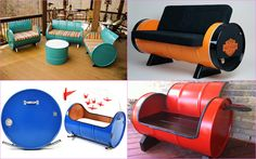 This recycled oil drum furniture collection by Drum Works Furniture a variety of colors, finishes and designs. Recycled Furniture, Unique Furniture, Furniture Making, Diy Furniture, Furniture Design, Outdoor Furniture, Drum Seat, Drum Chair, Barrel Furniture