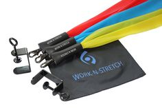 """Work-N-Stretch Products Resistance Band Set with Desk Clamps, Exercise Chart, and Resistance Band Carrying Case. Level 1, 2 & 3 Light, Medium & Heavy Resistance Assemblies (fits desks or tables up to 2-1/8"""" thick; long clamps shown). The Work-N-Stretch is a """"desk exercise assembly"""" consisting. of an elastic latex free resistance band with foam grip covered. swivel hooks and quick connect clamps that attach to virtually. any desk or table allowing you to tone and stretch your lower body…"""