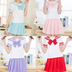 "Kawaii students bowknot shirt + skirt two-piece outfit  Coupon code ""cutekawaii"" for 10% off"