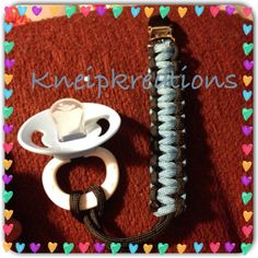 Paracord Pacifier Clip for baby by KneipKreations on Etsy