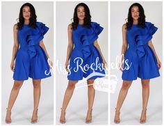 Boutique Romper SL Blue Royal Sleeveless Ruffle Shoulder Cocktail Party Jumpsuit #Boutique #Romper