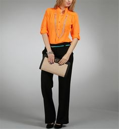 Orange Sheer V-neck Tunic Top