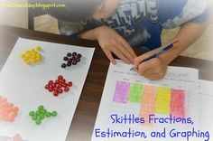"""My new unit, Skittles Fractions, Estimation & Graphing is complete! I developed the activities to give my math club more hands-on, """"real-. Math Classroom, Kindergarten Math, Classroom Activities, Teaching Math, Teaching Ideas, Classroom Ideas, Preschool, Plot Activities, Math Resources"""