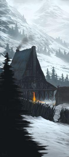 Grande Salão de Tyr no topo das Colinas de Ferro - Propriedade de Lorde Bjorn. Atualmente em ruínas após um incêndio.