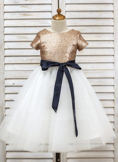 [AU$86.00] A-Line/Princess Tea-length Flower Girl Dress - Tulle/Sequined Short Sleeves Scoop Neck With Sash