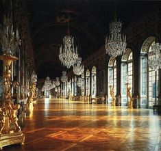 Hall of Mirrors in the Palace of Versailles. Versailles, France.