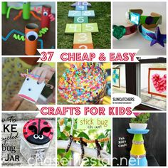 37 Cheap and Easy Crafts for Kids via Chase the Star - I love the painted sea shell idea. Easy Crafts For Kids, Craft Activities For Kids, Summer Crafts, Projects For Kids, Diy For Kids, Craft Projects, Summer Activities, Craft Ideas, Fall Crafts