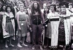 Bob Marley, with a Maori welcome party, during his 1979 Aotearoa (New Zealand) tour.