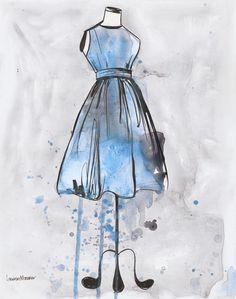 """""""Blue and Grey Vintage Dress""""  ~~     Artist ~Lauren Maurer~"""