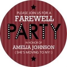 Moving Away Party Ideas   Maroon Stripe Farewell Party Invite