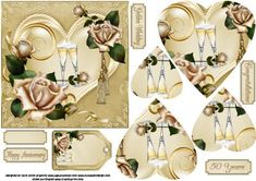 Golden wedding heart and roses pyramid on Craftsuprint designed by Carol Smith - a pyramid sheet with the golden wedding in mind but would work for any anniversary, has a golden heart in centre with two champagne glasses and a single rose, the heart is the decorated with two beautiful rose sprays one of which has a golden tassel, co-ordinating tags provided say happy anniversary, golden wedding, congratulations, 50 years, also a blank tag for the greeting of your choice. I have also included…
