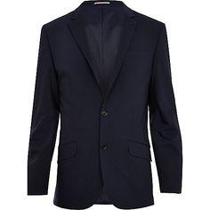 Navy wool-blend slim suit jacket