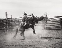Photography :20th Century , L.A. HUFFMAN (American 1879-1931). Portfolio of three photographsfrom Bronco Bustin at Bow Gun Ranch:. #300-1/2-11 - The...(Total: 3 )