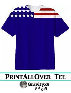 American Flag Stars and Stripes Patriotic Tee Shirt Cotton T-shirt by #Gravityx9 #PAOM #PrintAllOverMe - #Patriotic #PatrioticShirt #USAShirt #starsandstripes