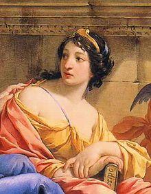 'Calíope' vem de um nome grego composto que significa 'belo rosto'. Esta era a musa da Poesia heroica e da grande eloquência. É representada sob a aparência de uma jovem, de ar majestoso, a fronte cingida de uma coroa de ouro, emblema que, segundo Hesíodo, indica sua supremacia entre as outras Musas. Está ornada de grinaldas, com uma das mãos, empunha uma trombeta; e com a outra um poema épico. Os poetas julgam que ela é mãe de Orfeu.