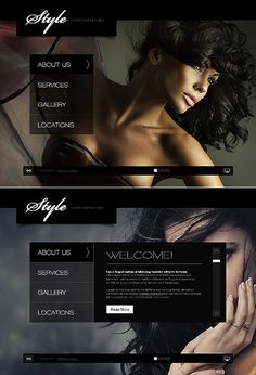 Template 34659 - Hair Stylist & Salon Flash & XML Full Screen Website Template With Stunning Background Images