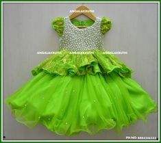 # kids designer frock with pearl hand embroidery  #pearl hand embroidery designs on kids frock #kids party wear dress designs  Angalakruti-Boutique bangalore
